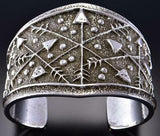 All Silver Many Arrows Navajo Tufacast Bracelet by Delbert Arviso 1B08R
