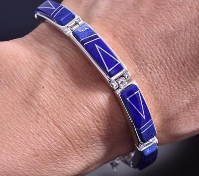 Silver & Lapis Navajo Inlay Link Bracelet by T. Gustine 8D04A