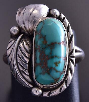 Vintage Size 5 Silver & Turquoise Double Feather Navajo Ring ZG23S