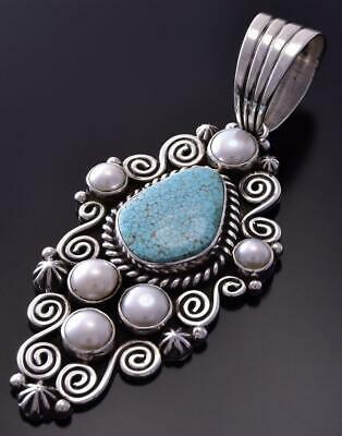 Silver & #8 Spiderweb Turquoise & Fresh Pearl Navajo Pendant Erick Begay ZC19A