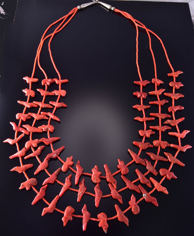 Vintage Mediterranean Red Coral 3-Strand Fetish Necklace ZM03V