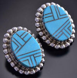 Silver & Turquoise Navajo Inlay Round Earrings by Patrick Yazzie 9F26B