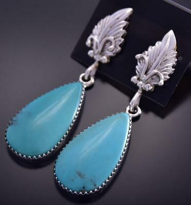Silver & Turquoise Feather Tear Drop Navajo Earrings by Annie Spencer ZG15A
