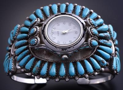 Vintage Old Pawn Silver Turquoise Navajo Blossom Watch Bracelet 7L14S