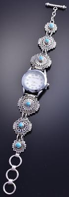 Vintage Silver Turquoise Navajo Concho Stamp Style Link Bracelet Watch 8A08R