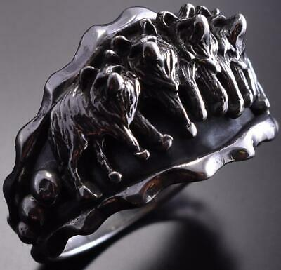 Size 14 Silver Wolf Pack Men's Ring by Roberta Begay ZE17B