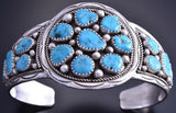 Vintage Silver Sleeping Beauty Circular Face Navajo Bracelet by IC 7L29F