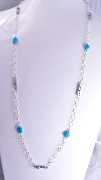 "41"" Silver & Turquoise Soft Edged Stone Long Navajo Necklace Erick Begay ZG31D"