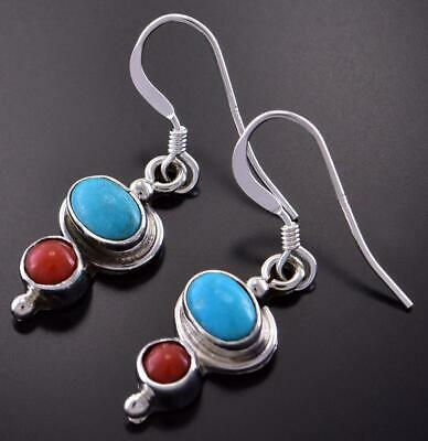 Silver & Turquoise & Coral Two Worlds Navajo Earrings by Lee Shorty 1C31Z