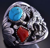 Size 14-1/2 Silver & Turquoise & Coral Eagle Men's Navajo Ring J. Saunders 9E15A