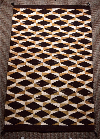 Vintage Navajo Handwoven Rug - Optical Design - 1960's- 70's  ZH17H