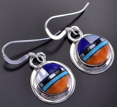 Silver & Turquoise Multistone Zuni Inlay Earrings by D. Kallestewa 1C17Y