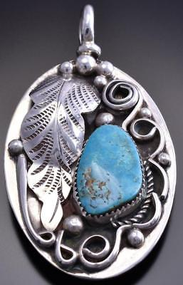 Reversible Silver & Turquoise Feather Kokpelli Large Pendant by Gary Henry 8E23G