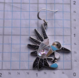 Silver & Abalone & Mother of Pearl Zuni Inlay Hummingbird Earrings by DJL 8D21X
