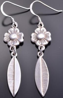All Silver Flowers & Feathers Navajo Earrings by Erick Begay 8G30H