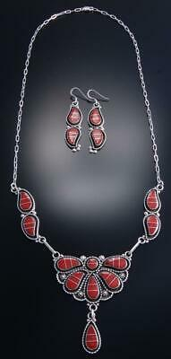 "26"" Silver Coral Zuni Inlay Necklace & Earring Set by S. Lowasayate 7K07Y"