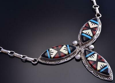 Multistone Inlay Necklace & Earrings Set by Zuni artist Glady Lamy 9K24W