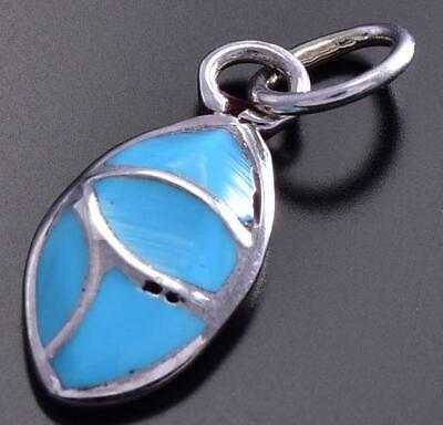 Sleeping Beauty Turquoise Small Inlay Pendant 9J25O