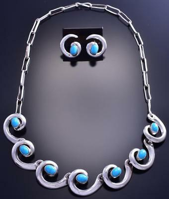 "16"" Silver & Turquoise Water Flow Navajo Necklace & Earring Set by T 9A16O"