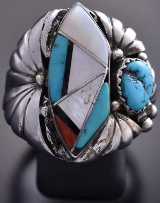 Size 11-1/2 Vintage Silver & Turquoise Multistone Navajo Inlay Men's Ring 9A11P