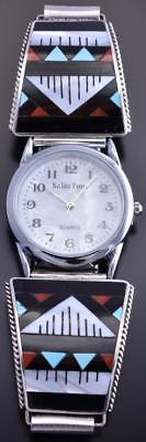 Silver & Jet Multistone Zuni Inlay Men's Watch by Leander Othole 8I29A