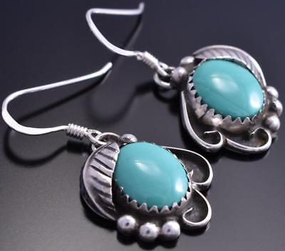 Silver & Turquoise Navajo Feathers Earrings by FB 8H10Z