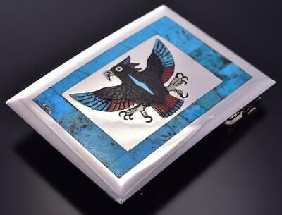 Silver & Turquoise Multistone Zuni Inlay Eagle Buckle by Harlan Coonsis ZC03O