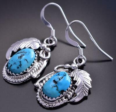 Silver & Sleeping Beauty Turquoise Navajo Feather Earrings Roberta Begay 9B26P
