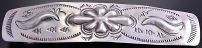 All Silver Navajo Stamp Design Barrette by J 8G20R