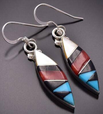 Silver & Turquoise Multistone Zuni Inlay Earrings by Cleo Kallestewa ZE06D