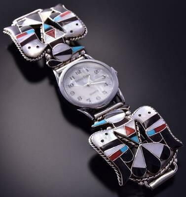 Silver & Turquoise Multistone Zuni Inlay T-bird Men's Watch by Bobby Shack ZA08Z