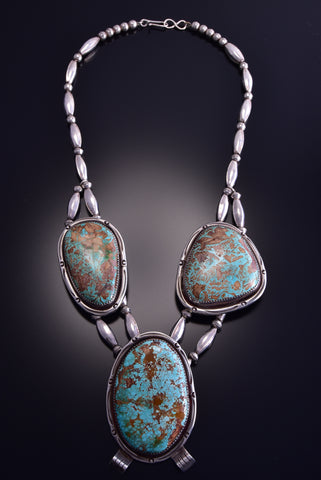 "23"" Vintage Turquoise Three Stone Navajo Necklace by Wilbur Anderson ZL17R"