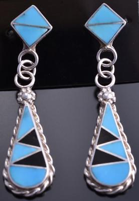 Silver Turquoise & Jet Zuni Inlay Tear Drop Earrings by Swain Charlie 8B23Q