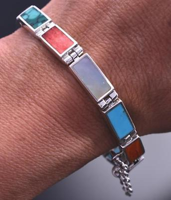 Reversible Silver & Turquoise & More Navajo Link Bracelet by A. Tsosie 8D04M