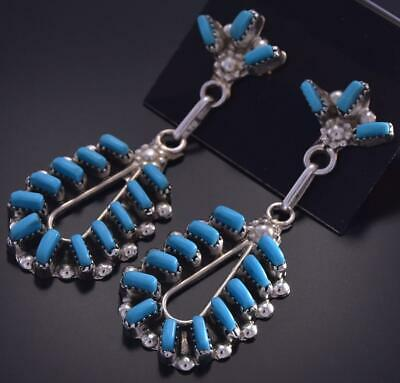 Silver & Turquoise Zuni Needle Point Loop Earrings by Fabian Cellicion ZG15V