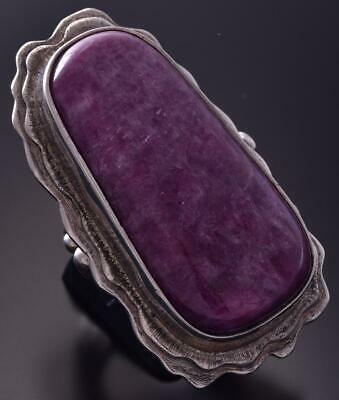 Old Pawn Size 8.5 Silver & Ruby Ziosite Navajo Long Ring by Lyndon Tsosie ZC03Y