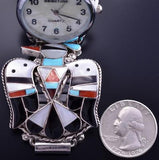 Silver & Turquoise Zuni Multistone Inlay T Bird Men's Watch by Bobby Shack 8J18B
