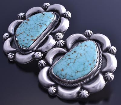 Silver Lone Mountain Turquoise Half Moon Earrings by Erick Begay 8B05Q