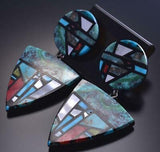 Large Santo Domingo Inlay Turquoise & Multistone Earrings by Chris Nieto 9B26A