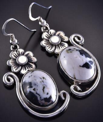 RESERVED----SOLD     Silver & White Buffalo Turquoise Flower Flow Navajo Earrings Erick Begay ZL07Y