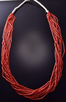 Old Pawn 32 inch 9 Strand Coral Navajo Necklace ZC03U