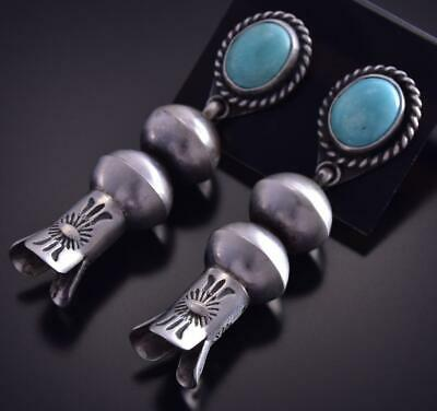 Silver & Turquoise Navajo Squash Blossom Bottom Earrings by Chris Hale ZG15P