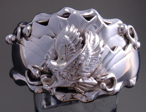 Size 13-1/2 - All Silver Hunting Eagle Men's Ring by G. Francisco UA20Z