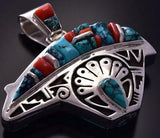 Reversible Silver & Turquoise & Coral Bear Navajo Pendant Cathy Armstrong ZC03C