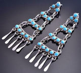 Silver & Turquoise Zuni Petty Point Four Tier Earrings by Sylvia Chee 9B26N