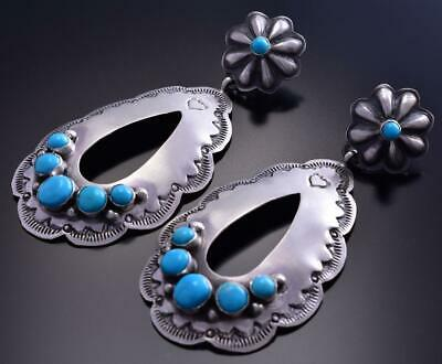 Silver & Turquoise Navajo Stamp Large Open Earrings by Rita Lee 9B26Z