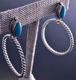 Silver & Turquoise Twisted Rope Hoop Navajo Earrings by Judy Largo 9J04S