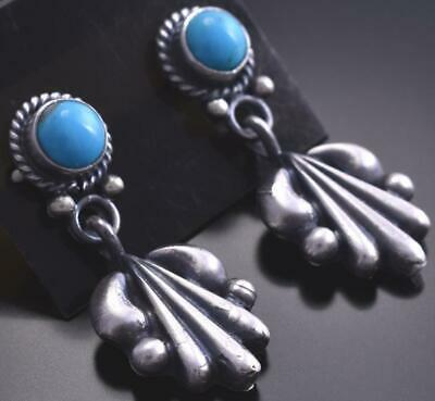 Silver & Turquoise Navajo Handstamp Dangle Earrings by Annie Spencer 9B18D