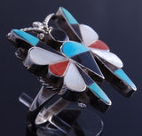 Size 7 Silver Turquoise Multistone Zuni Inlay Butterfly Ring by Dean Quam 7H13O