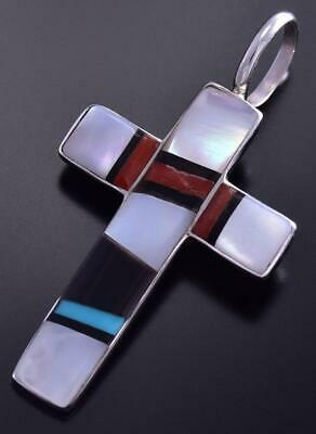 Zuni Inlay Cross Pendant by Bobby Sanchez 9J24G